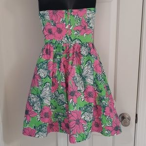 Lilly Pulitzer Dresses - Lilly Pulitzer Strapless Dress Size 00 Butterflies